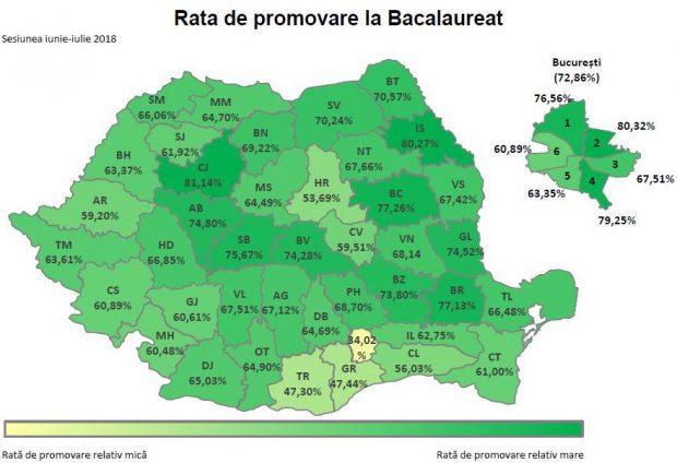 Harta cu rata de promovare la BAC 2018 pe județe (predomină culoarea verde)