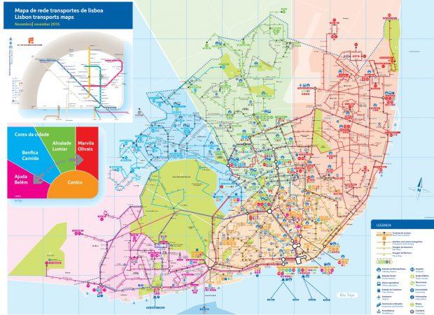 Harta transportului public din Lisabona, care include rute de autobuz, tramvai, metrou şi tren