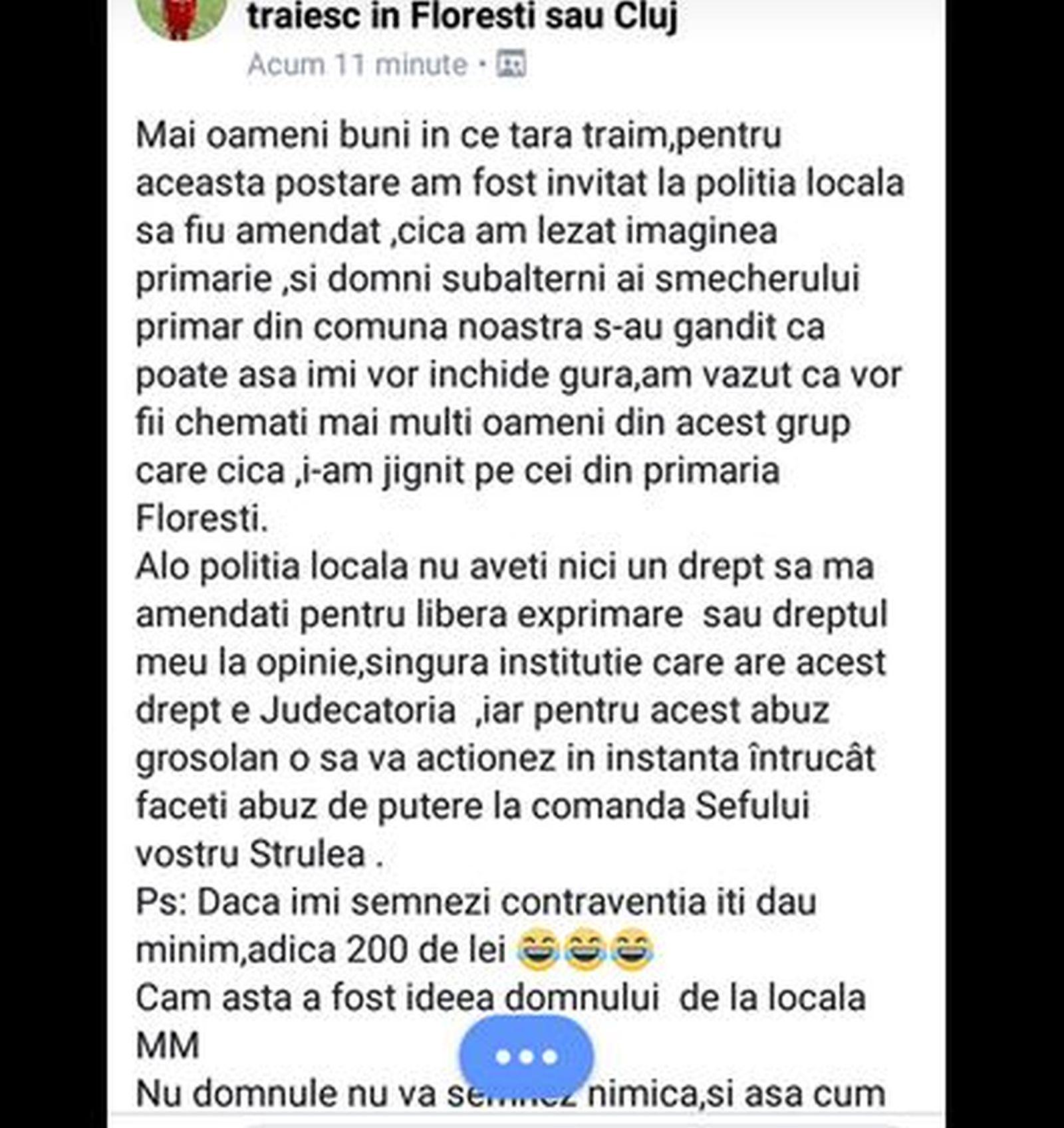 Un cetățean din Cluj a fost amendat pentru că a îndrăznit să critice primarul. A scris un mesaj considerat jignitor pe facebook