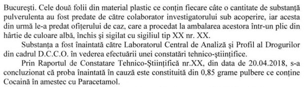 """Documentul oficial care confirmă informațiile publicate de Libertatea: Cocaină cu paracetamol la peste 200 de euro gramul, vândute clienţilor din dosarul """"Stupefiante pentru VIP-uri"""""""