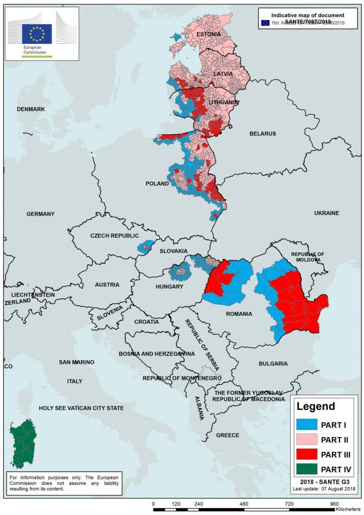 BREAKING NEWS. E jale! Pesta porcină e în 13 județe ale României, după cum arată harta Comisiei Europene. Mai repede cu 3 săptămâni!