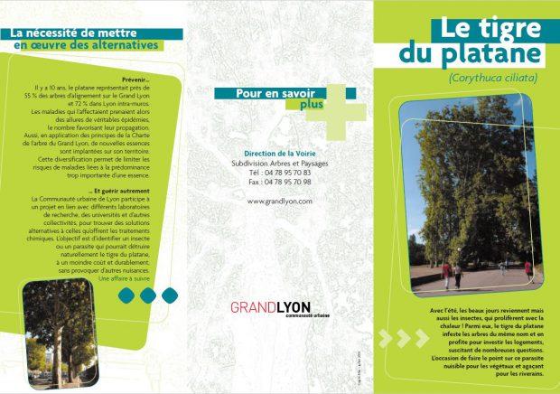 Broşură de informare cu privire la invazia tigrilor de platan tipărită de administraţia locală din Lyon.