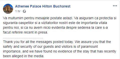 Mesajul transmis de hotelul Athenee Palace, după ce Dragnea a spus că presupușii asasini s-au cazat acolo