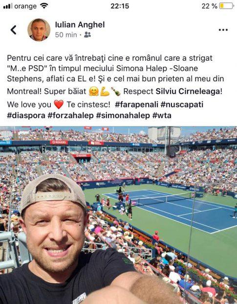 """Din tribune s-a strigat """"M..e PSD!"""" în timpul meciului Simonei Halep cu Sloane Stephens! Cine e """"vinovatul"""""""