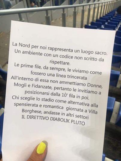 Fanii radicali ai lui Lazio nu vor femei în primele rânduri ale Peluzei Nord de pe stadionul Olimpico