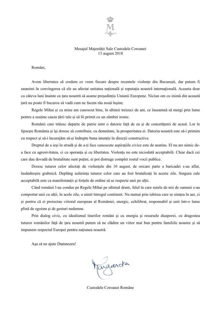 """Mesajul Familiei Regale a României după violențele de la protestul diasporei. """"Au afectat unitatea națională și reputația noastră internațională"""""""