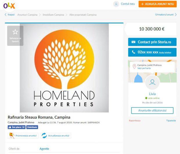 Rafinăria Steaua Română din Câmpina, de vânzare pe OLX