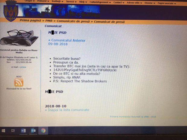Site-ul Primăriei Capitalei a fost atacat de hackeri