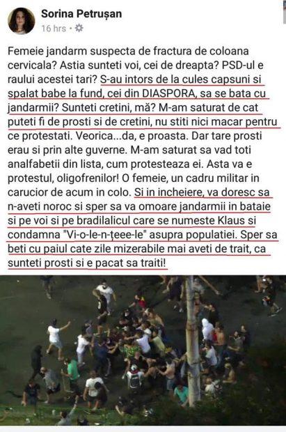 Mesajul medicului Sorina Petrușan, postat pe Facebook