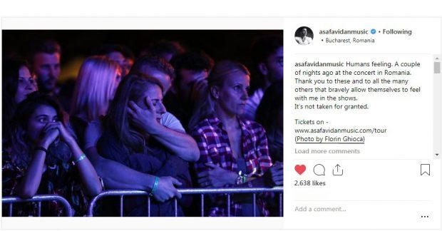 Asaf Avidan a postat pe Instagram o fotografie a unui jurnalist român