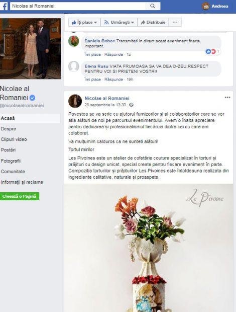 Principele Nicolae le mulțumește furnizorilor de la nuntă pe Facebook. Captură pagina de FB a Principelui Nicolae