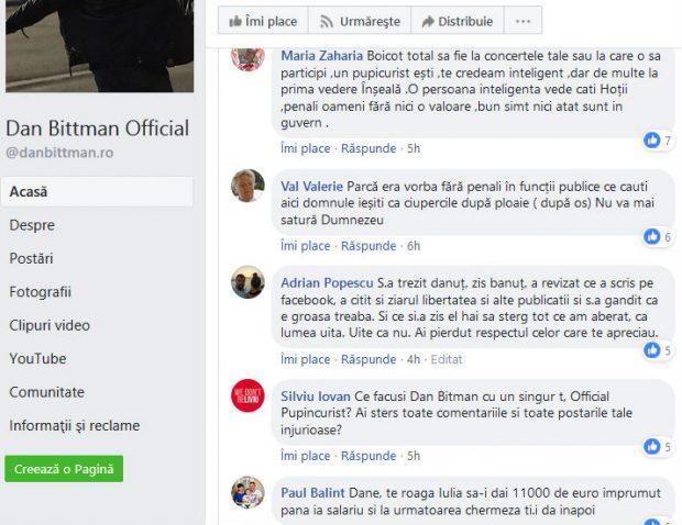 Comentarii negative pe pagina oficială de Facebook a lui Dan Bittman