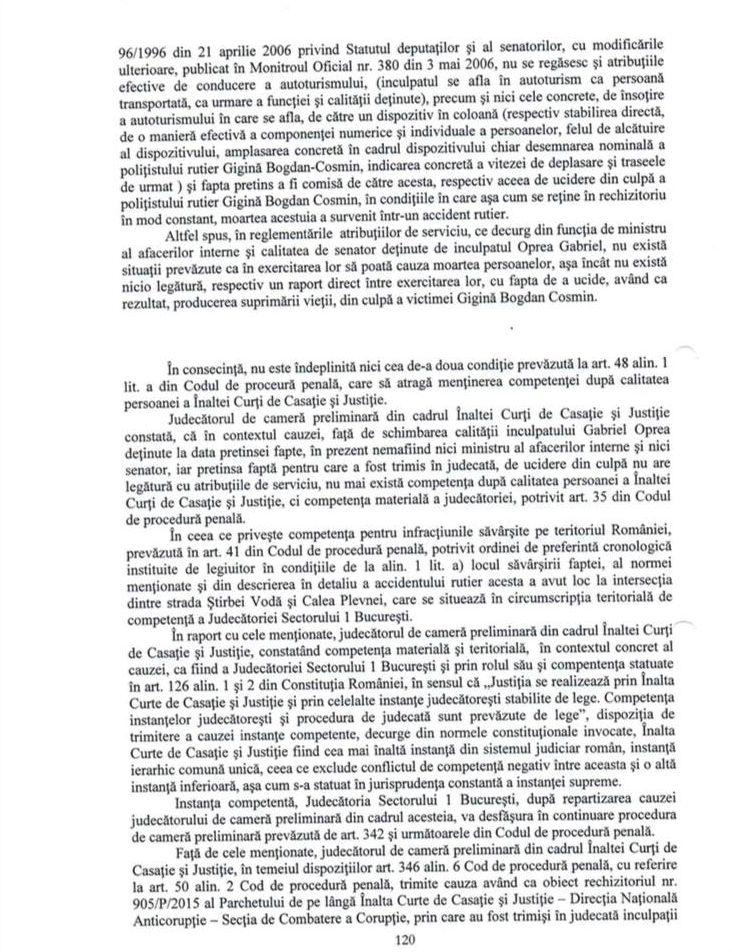"""Ce spune Gabriel Oprea despre cazul Bogdan Gigină: """"ICCJ a stabilit că nu există nicio legătură între exercitarea atribuțiilor de serviciu ale funcției de ministru și accidentul rutier"""""""