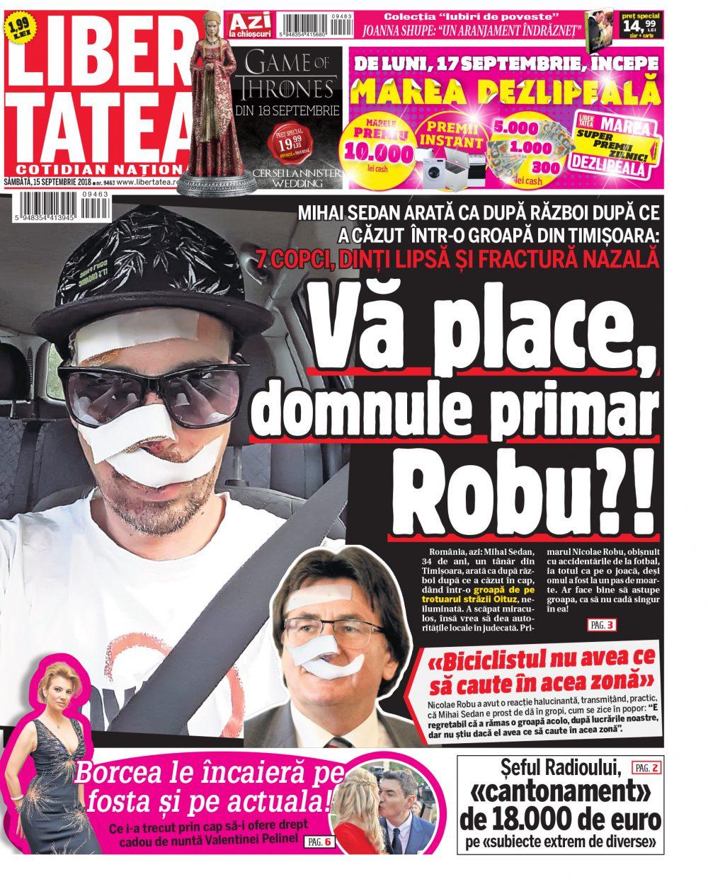 Domnule primar Robu, aveți grijă când mergeți cu bicicleta prin Timișoara! Puteți ajunge așa, ca tânărul care a căzut în groapa de pe trotuar