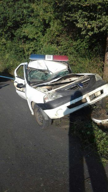Mașina Polițistului din Constanța, după accident