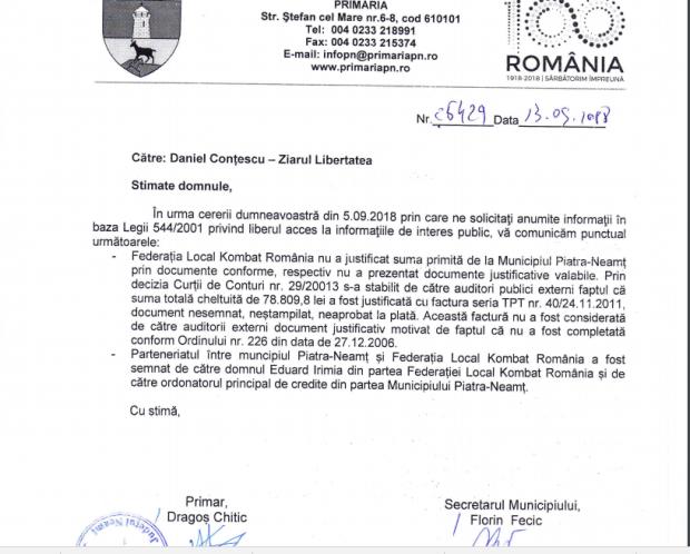 """ACTUALIZARE / Primăria Neamț nu-l slăbește pe Eduard Irimia. """"Nu a justificat suma primită"""""""