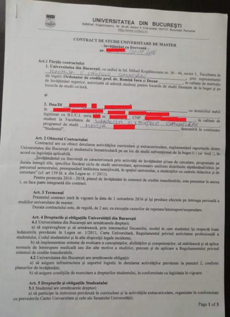 Contract semnat de unul dintre studenţii care sunt obligaţi să restituie bursa cu Universitatea Bucureşti