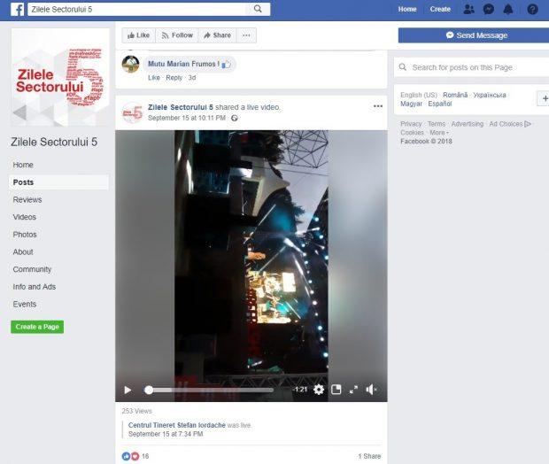 pagina Facebook de promovare a evenimentelor pentru semicentenarul Sectorului 5