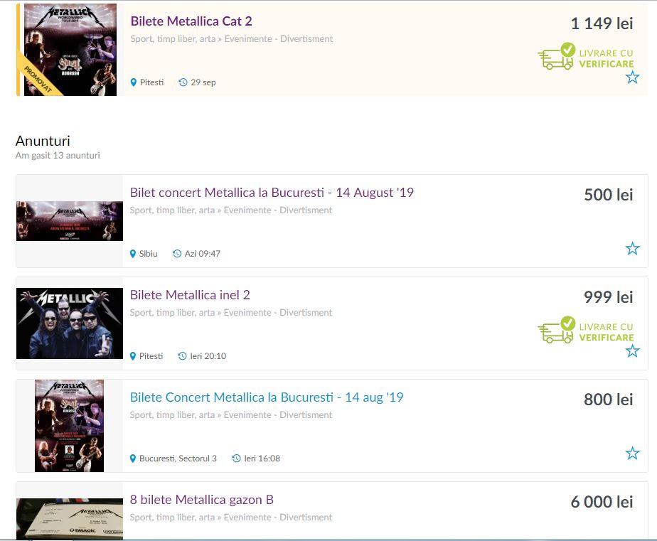 Bișnițarii vând pe OLX bilete pentru concertul Metallica la prețuri astronomice! Cât costă un bilet la cea mai ieftină categorie