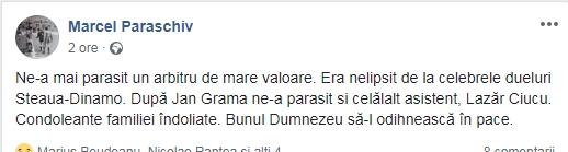 A murit fostul fotbalist și arbitru Lazăr Ciucu. A jucat la Progresul București și Petrolul Ploiești și a fost în brigadă de mai multe ori la derby-ul Steaua - Dinamo