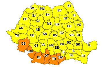 Hartă cu zonele afectate de un cod portocaliu și cod galben de vânt puternic și ninsori viscolite