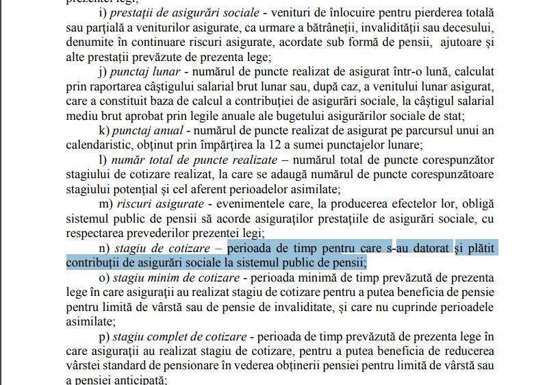 Stagiul de cotizare, așa cum va fi definit în noua lege a pensiilor