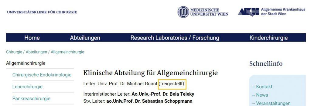 Profesor doctor Michael Gnant, seful sectiei chirurgie a spitalului AKH din Viena, Austria