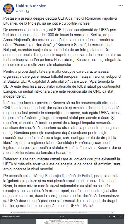"""Reacția ultrașilor români după ce UEFA a suspendat din nou terenul naționalei României: """"Duplicitate și înaltă corupție"""""""