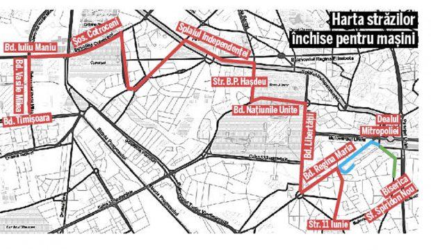 Harta străzilor închise pentru mașini în 25 octombrie, pentru procesiunile de Sărbătoarea Sf. Dimitrie cel Nou și evenimentele de Ziua Armatei