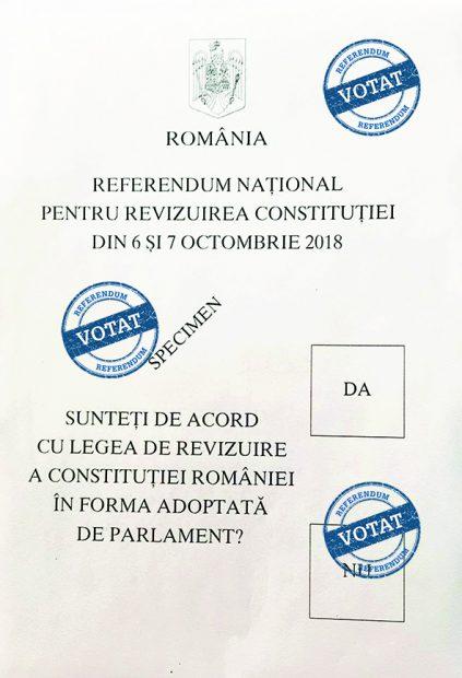 Cum arată buletinul de vot la referendumul pentru definirea familiei. Dacă scrii ceva pe buletin, dar pui ștampila corect, votul e valabil