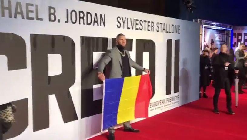 Gest superb făcut de Florian Munteanu, românul care joacă în filmul Creed 2. Cu steagul României la premieră | VIDEO