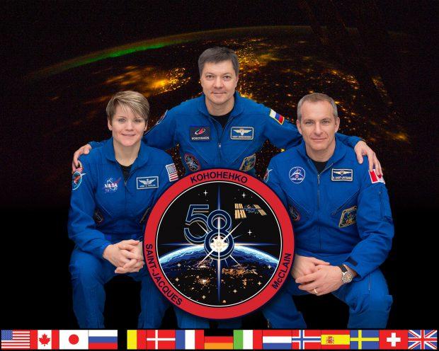 Anne McClain, Oleg Kononenko şi David Saint-Jacques sunt cei trei astronauţi, membri ai Expediţiei 58, care vor petrece Crăciunul la bordul Staţiei Spaţiale Internaţionale (foto: NASA)