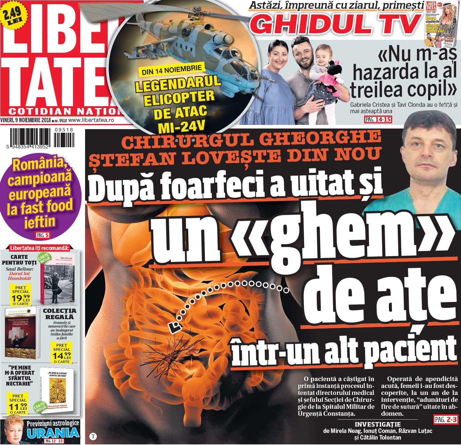 MApN, către Libertatea: Directorul medical al Spitalului Militar din Constanța va fi dat afară! El uitase două foarfeci într-o pacientă