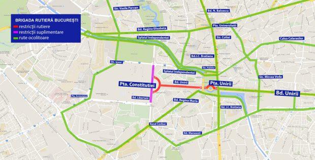 Harta cu restricțiile rutiere din zona Târgului de Crăciun din București