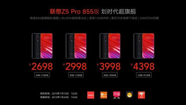 Lenovo lansează Z5 Pro GT, primul telefon cu 12 GB de RAM