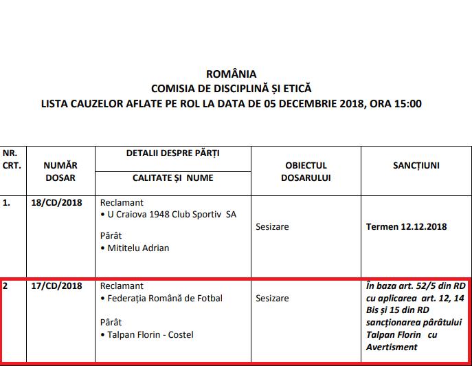 FRF a anunțat sancțiunea dictată lui Florin Talpan. Juristul CSA Steaua a scăpat ieftin