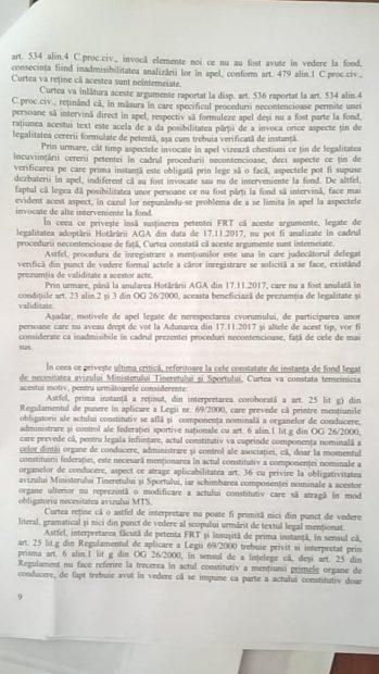 """Motivarea deciziei definitive a Curții de Apel în dosarul anulării înscrierii mandatelor conducerii FR Tenis. """"Cosac este gata""""!"""