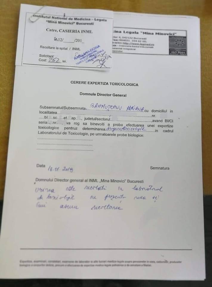 Adriana Bahmuțeanu a făcut testul antidrog. Care este motivul