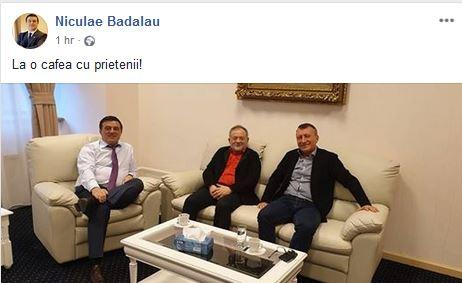 """Bădălău publică o fotografie în care apare alături de Paul Stănescu, mazilit de conducerea PSD: """"La o cafea, cu prietenii!"""""""