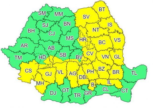 A intrat în vigoare codul galben de ninsori și viscol în peste jumătate din țară! Harta zonelor vizate de avertizarea meteorologilor