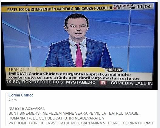 Reacția Corinei Chiriac la burtiera România TV