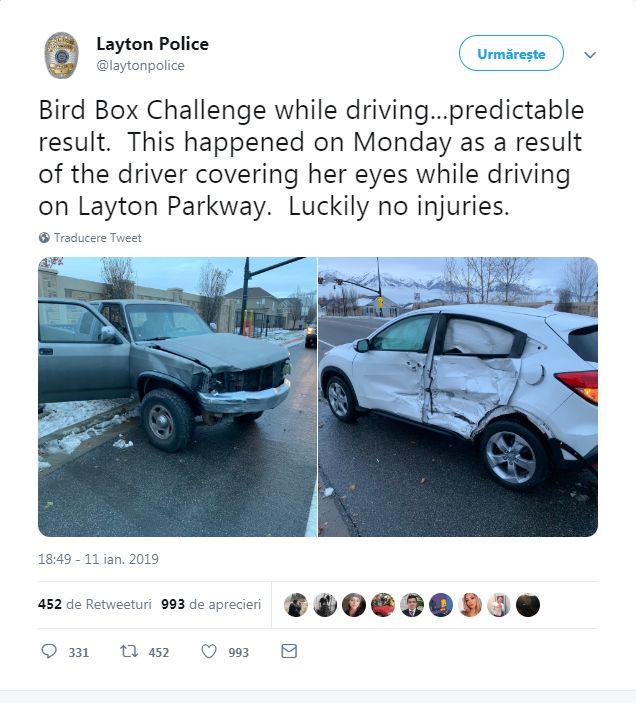 """Un șofer legat la ochi a produs un accident după isteria """"Birdbox"""". Avertismentul Poliției"""