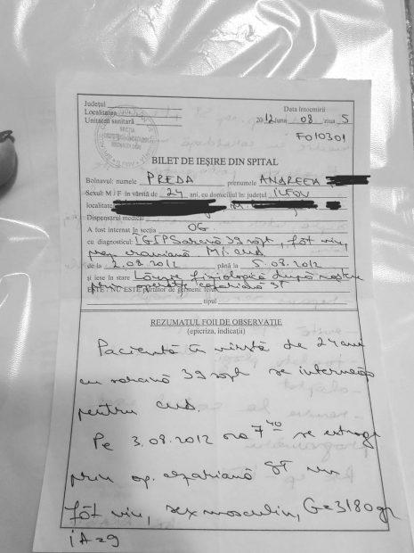 Biletul de ieșire din spital al pacientei Andreea Preda