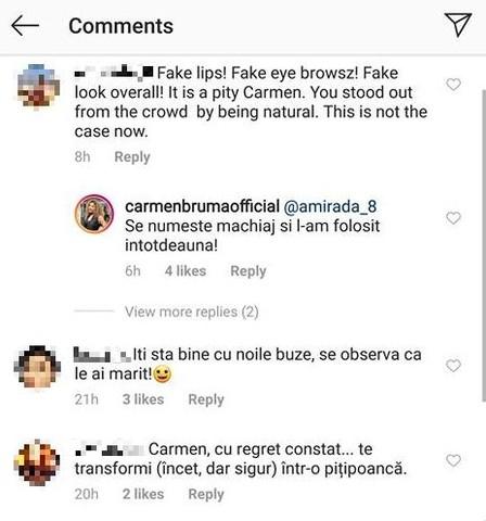 """Carmen Brumă, atacată de fani. """"Buze false, sprâncene false, totul fals"""""""