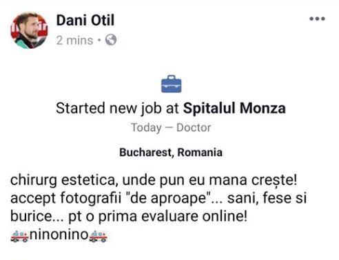 Dani Oțil face mișto de medicul cu opt clase. Ce status și-a pus în mediul online