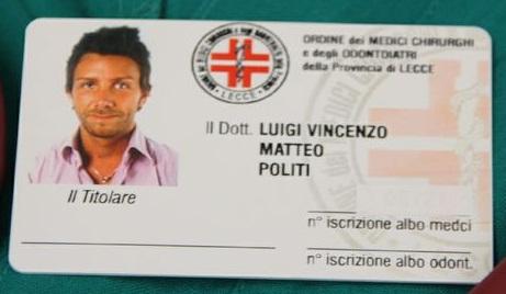 Legitimația pe care Matteo Politi a falsificat-o în Italia
