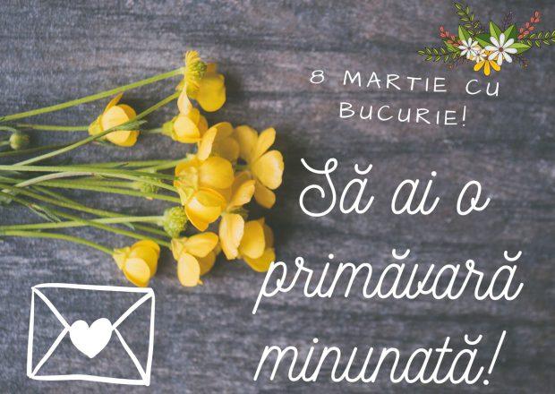 Mesaje de 8 martie pentru soție- flori de primăvară pe fundal de lemn