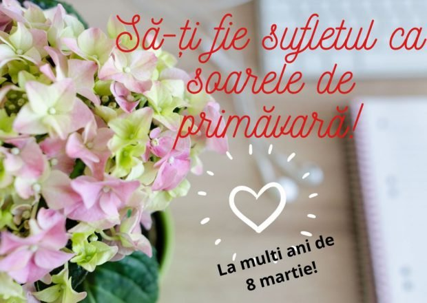 Mesaje de 8 martie= buchet cu flori cu laptop și căști în fundal