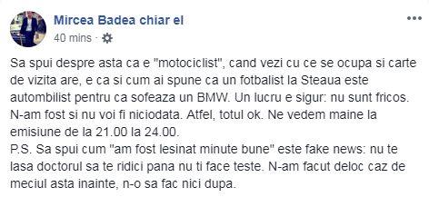 Mesajul lui Mircea Badea după ce a fost făcut KO de motociclistul Tedi Emi