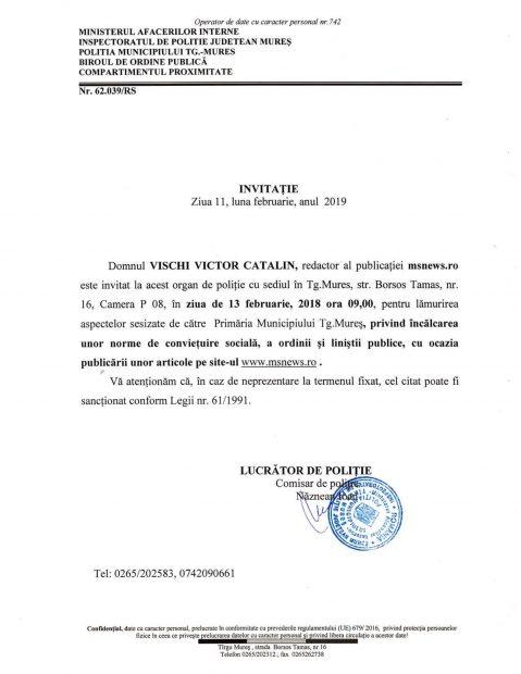 Aceasta este invitația de la Poliție pe care a primit-o Cătălin Vischi